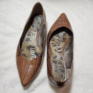 Sam Edelman Brown Leather Snakeskin Pointed Flats